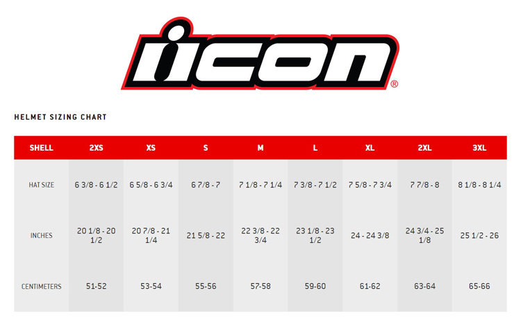 ICON size chart