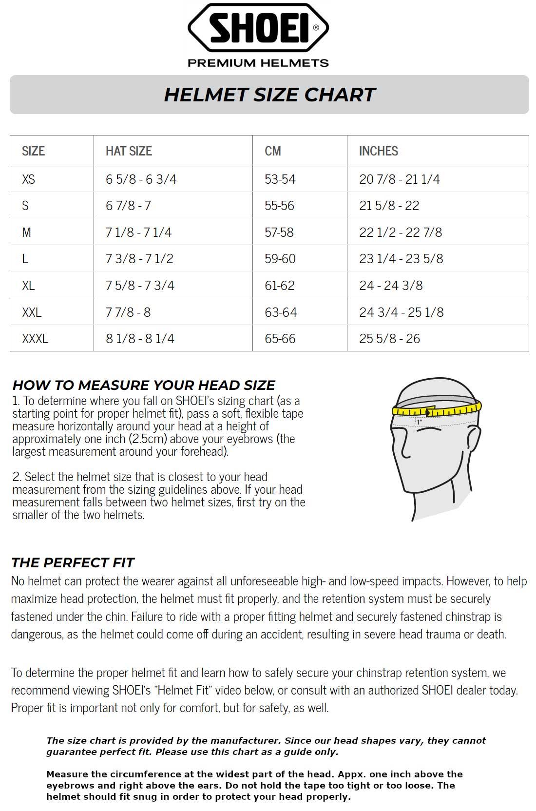 Shoei Size Chart