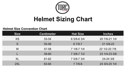 Torc Helmet Size Chart Xtremehelmets