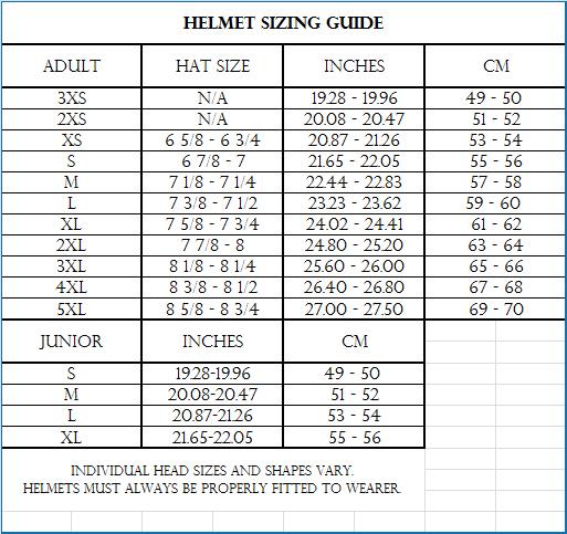 Vega Helmet Size Chart